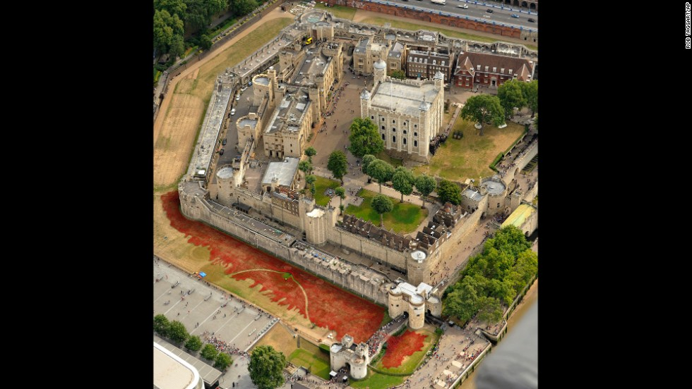 The sea of ceramic poppies are seen in this aerial photo taken Monday, August 4.