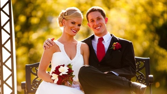 Justine and Steele Spence on their wedding day