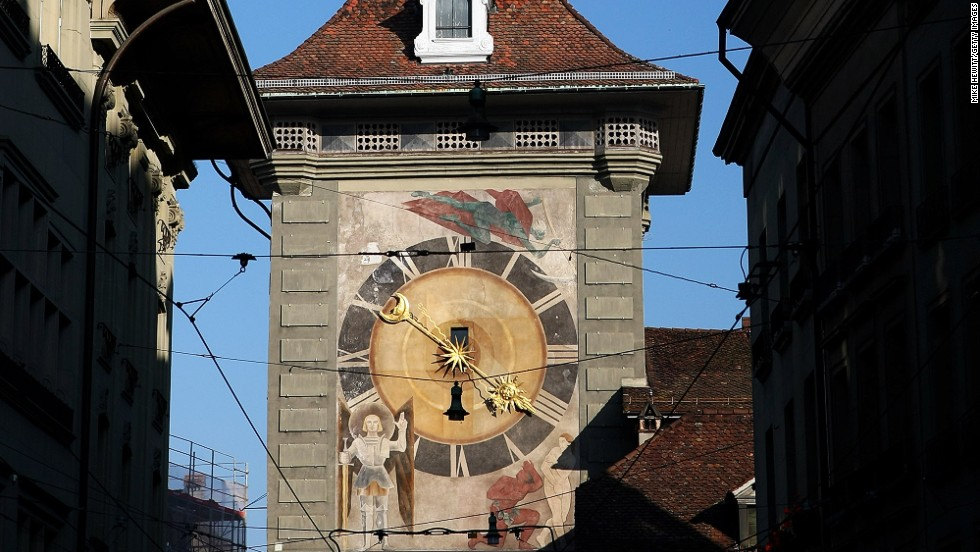 "<strong>Zytglogge Tower, Bern, Switzerland</strong><br /><strong>Completed: </strong>1405 (rebuilt in 1527)<br /><strong>Height: </strong>16 meters (52 feet)<br /><strong>Observation deck</strong> <br />A 50-minute tour ($16) starts daily at 2:30 p.m. <a href=""http://www.bern.com/en/activities/city-tours/public-city-tours/clock-tower-tour"" target=""_blank"">Reservation required</a>.<br /><strong>Special features</strong><br />Figurines next to the clock rotate, and every hour a larger figure appears to hammer the gilded bell that rings at the top of the tower. Apart from time, the astronomical clock also features a lunar dial, 12 zodiac signs, a calendar dial and a planisphere (star chart).<br /><strong>Historic uses</strong><br />The Clock Tower served as Bern's first western city gate during the city's expansion around 1220. It was transformed briefly into a prison before becoming a clock tower.<br /><a href=""http://www.bern.com/en/activities/city-tours/public-city-tours/clock-tower-tour"" target=""_blank""><em>Bern's Clock Tower</em></a><em> (Zytglogge), Bahnhofplatz 10a, 3011 Bern, Switzerland</em>"