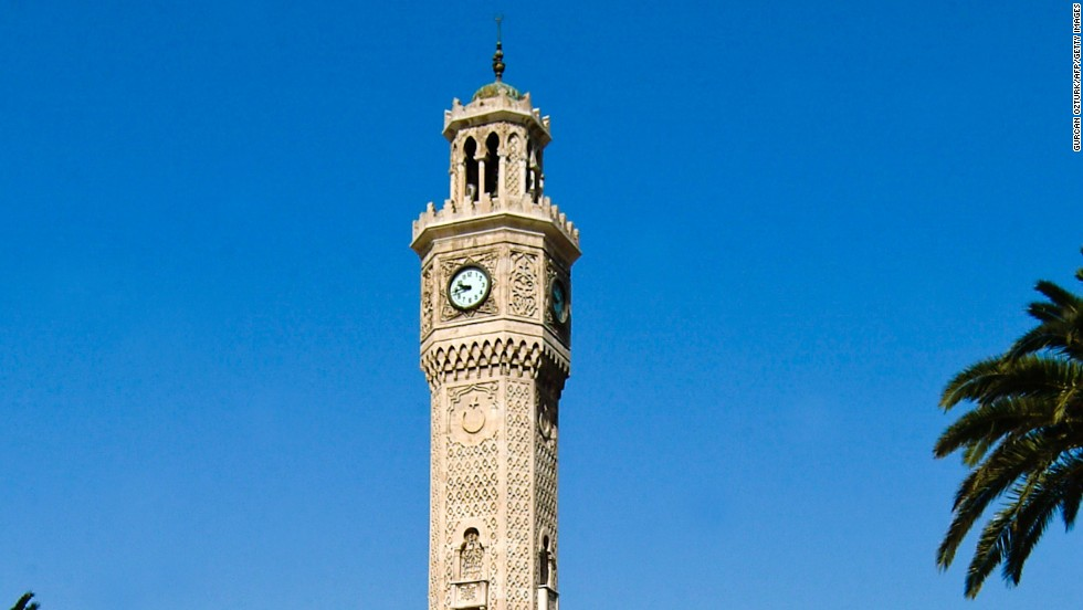 <strong>Izmir Clock Tower, Izmir, Turkey</strong><br /><strong>Completed: </strong>1901<br /><strong>Height: </strong>25 meters (82 feet)<br /><strong>Architect: </strong>Raymond Charles Pere<br /><strong>Special feature</strong><br />There are four small fountains at the base of the tower.<br /><strong>Historic gesture</strong><br />The clock was a present from German emperor Wilhelm II to Sultan Abdulhamit II of the Ottoman Empire as a gesture of friendship.<br /><em>Izmir Clock Tower, Konak Sqaure, Izmir, Turkey</em>