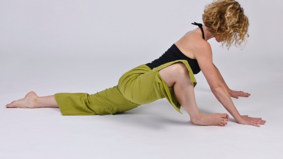 This is a piriformis-stretching pose for the front leg and a hip-flexor stretch for the back leg.