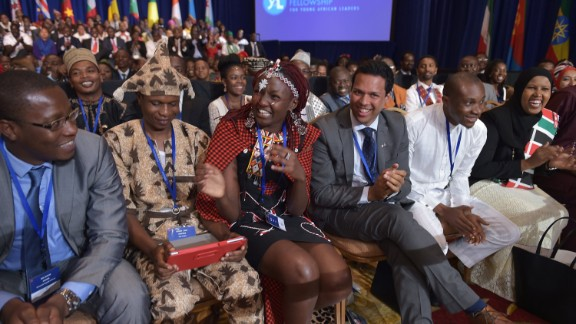 A woman laughs at a meeting of young African leaders talking with President Obama before the U.S.-Africa Summit convened.