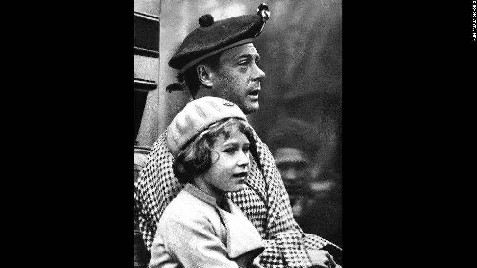 Princess Elizabeth is seen with her uncle Edward, Prince of Wales, during a visit to Balmoral, Scotland, in September 1933. He would go on to become King Edward VIII in 1936. But when he abdicated later that year, Elizabeth's father became King and she became heir presumptive.