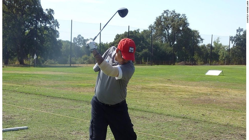Norbie Lara lost his right arm while serving in Iraq in 2004 but found inspiration from the Wounded Warrior project to take up golf.  He regularly breaks 100 for 18 holes.
