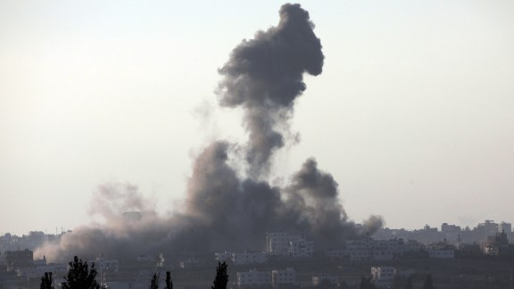 A picture taken from the Israeli border with the Gaza Strip shows smoke billowing from the coastal Palestinian enclave following an Israeli military strike on August 2, 2014. Israel will continue its military campaign in the Gaza Strip for as long as needed and with as much force as necessary, Prime Minister Benjamin Netanyahu said in a public address.