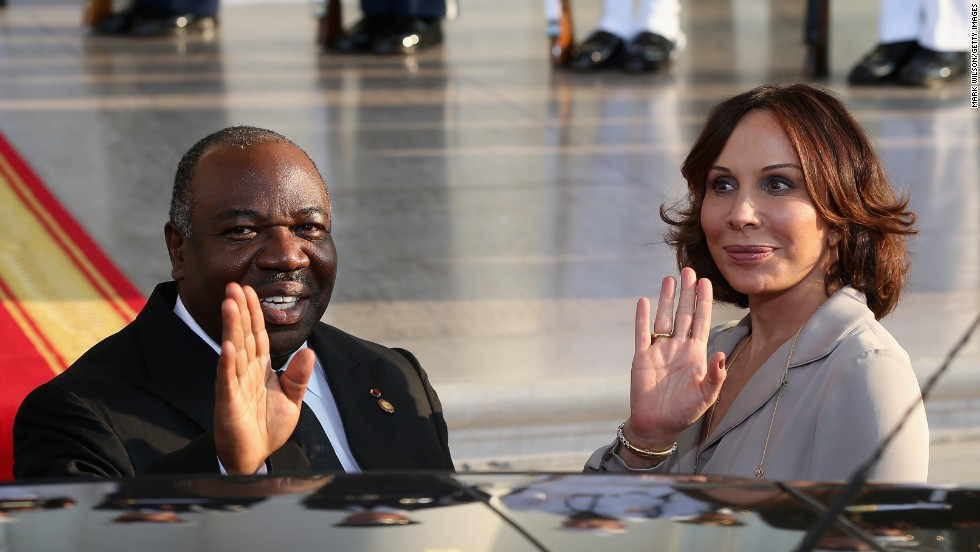Gabon President Ali Bongo Ondimba and his wife, Sylvia Bongo Ondimba, arrive at the White House.