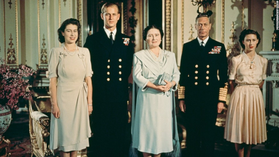 This portrait of the British royal family was taken in July 1947, after Princess Elizabeth, far left, got engaged to Prince Philip of Greece, a lieutenant in the British Navy. He is second from left. Next to him, from left, are the Queen Mother, King George VI and Princess Margaret.