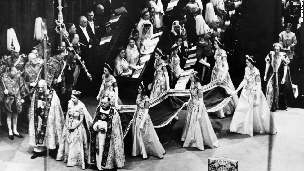 Queen Elizabeth II walks to the altar during her coronation ceremony on June 2, 1953. She was the sixth female to ascend to the British throne.