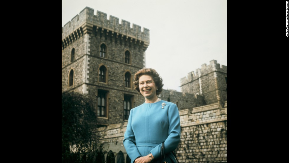 Queen Elizabeth II takes a portrait at Windsor Castle for her 50th birthday on April 21, 1976.