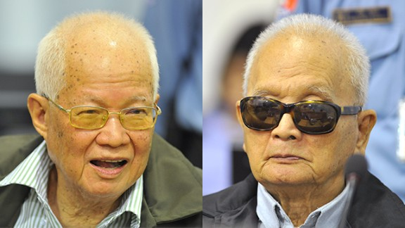 """Khieu Samphan, the Khmer Rouge """"Brother Number Four,"""" and Nuon Chea, """"Brother Number Two,"""" face trial in Phnom Penh."""