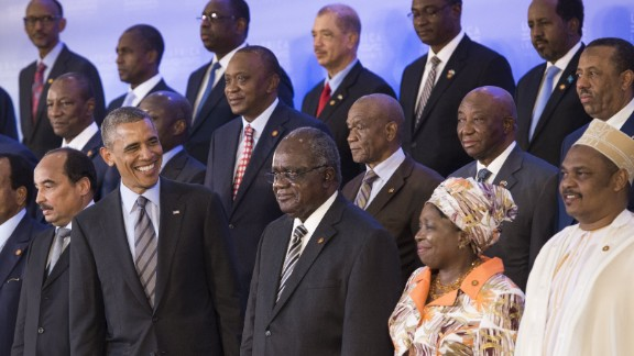 President Barack Obama greets leaders from Africa during a summit this week in Washington.