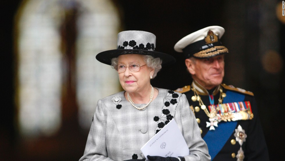 The Queen and Prince Philip leave London's St. Paul's Cathedral in October 2009, following a commemoration service to mark the end of combat operations in Iraq.