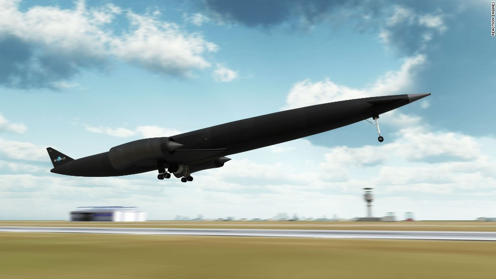 Design image of the Skylon spacecraft taking off. This radical redesign uses a horizontal take off and landing system, and is 100% reusable, offering more frequent, cheaper and deeper flights into space.