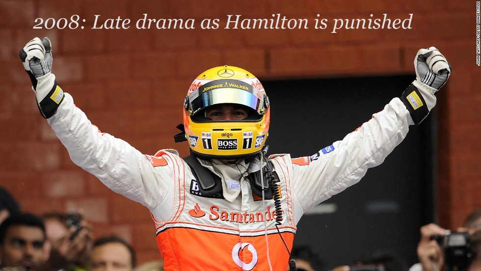Lewis Hamilton thought he had won the 2008 Belgian GP after a dramatic penultimate lap.<br /><br />On a soaking track, Hamilton passed Raikkonen before spinning, which allowed the Finn to regain the lead. Raikkonen then spun himself moments later before crashing into a wall.<br /><br />Hamilton cruised home for what looked like his maiden Spa victory, but race stewards later slapped a 25-second drive-through penalty on the British driver for cutting a corner to overtake his Ferrari rival. <br /><br />The penalty meant Hamilton dropped down to third place, with Ferrari's Felipe Massa claiming the win -- but it did not stop the young McLaren racer from going on to claim his first world title by just a point from the Brazilian.