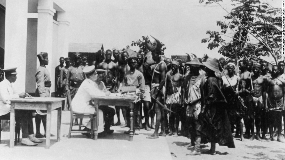 Togolese men are recruited into the army in German-controlled Togoland, circa 1914.