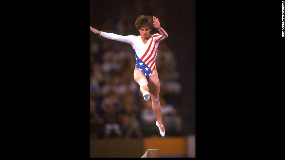 Soviet bloc countries boycotted the Los Angeles Olympics, but Mary Lou Retton (and her iconic bouncy haircut) showed up and became the first American to win the women's all-around gymnastics gold.