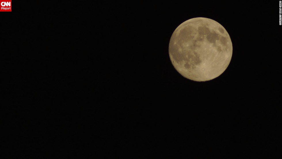 "<a href=""http://ireport.cnn.com/docs/DOC-1159974"">Billy Sanez</a> of Dallas, Texas has been taking photos of the moon for about two years, and caught this look at the supermoon on Saturday. ""The moon was the brightest I have ever seen. It was awesome."""