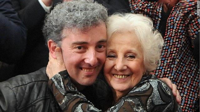 Estela Carlotto and her grandson, who was stolen from his mother at birth during Argentina's military dictatorship, meeting for the first time.