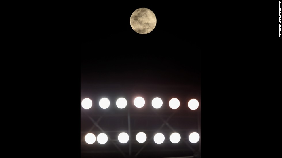 The moon can be seen during a match between Sao Paulo and Vitoria in Sao Paulo, Brazil.