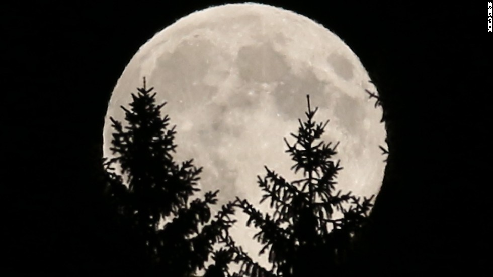 The full moon peeks through trees in woods near Rasing, Austria.