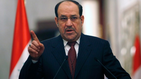 "Iraqi Prime Minister Nuri al-Maliki gives a joint press conference with United Nations Secretary-General Ban Ki-Moon (unseen) in Baghdad about the situation in Iraq and Syrian on January 13, 2014 during the latter's two day visit to Iraq. UN Secretary-General Ban Ki-moon called for Iraqi leaders to address the ""root causes"" of a surge in bloodshed as security forces clashed with gunmen in violence-wracked Anbar province. AFP PHOTO / Ahmed Saad / POOL           (Photo credit should read Ahmed Saad/AFP/Getty Images)"