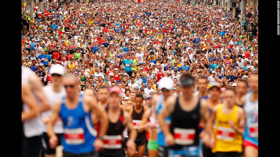 Participants run in the City2Surf road race held Sunday, August 10, in Sydney. The annual race is 14 kilometers (8.7 miles) long.