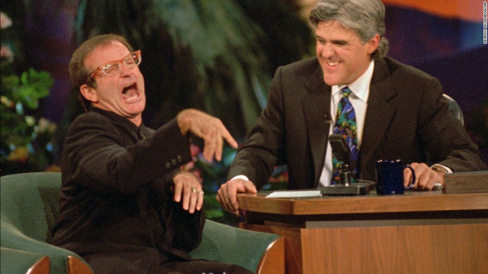 "Jay Leno laughs as Williams jokes around during a taping of ""The Tonight Show with Jay Leno"" on November 13, 1995, at the MGM Grand Hotel in Las Vegas."