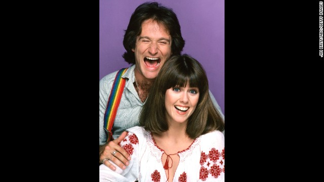 "Robin Williams and Pam Dawber in ""Mork & Mindy"" on September 14, 1978."
