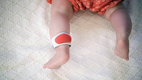 The Sproutling baby monitor system includes an ankle bracelet, environmental sensor and mobile app.