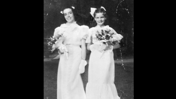 Bacall, right, at 12, with her classmate Helen Bakewell after their 1936 graduation from the private girls' school Highland Manor in Tarrytown, New York.
