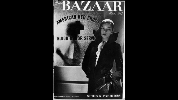 Bacall appears as a model on the cover of Harper's Bazaar magazine in March 1943.