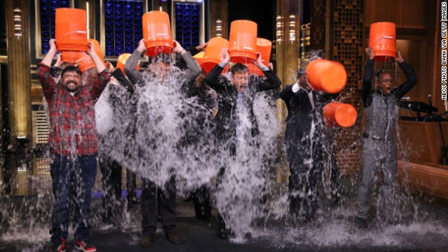 "Jimmy Fallon, host of ""The Tonight Show,"" and members of his house band, The Roots, took part in the Ice Bucket Challenge."