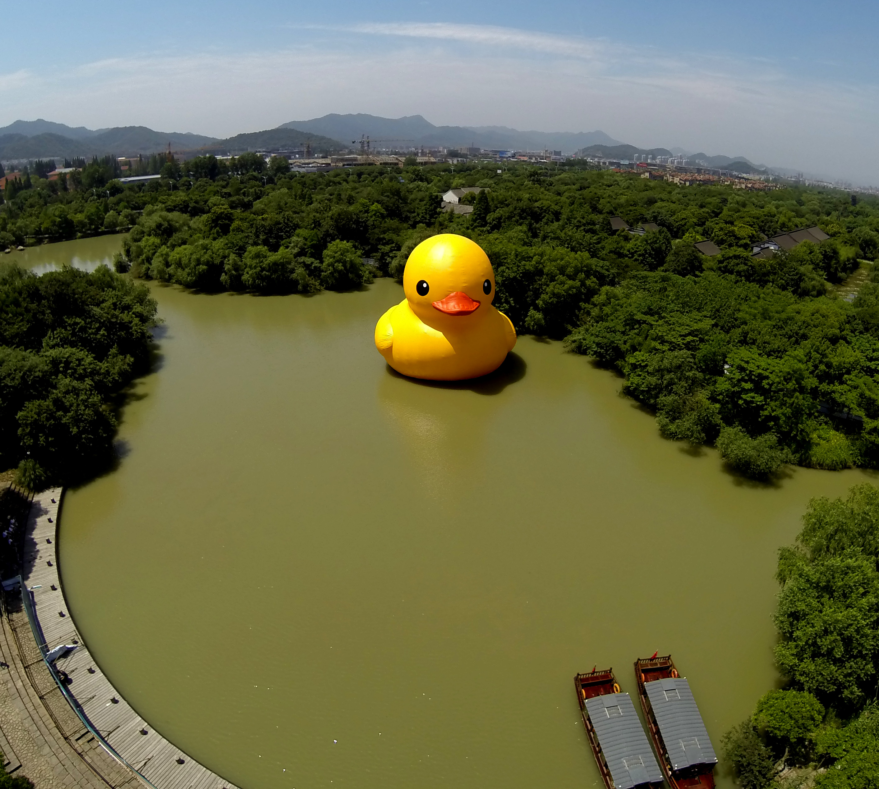 Giant Inflatable Duck Artists Next Big Thing Hippos Cnn Travel Natural Rubber