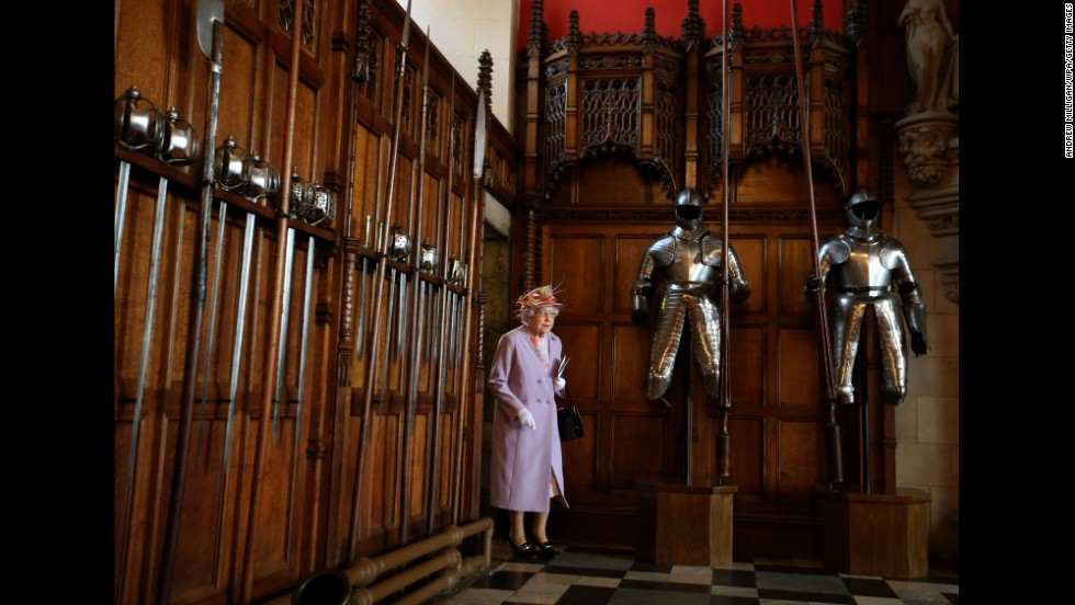 The Queen enters the Great Hall at Edinburgh Castle after attending a commemorative service for the Scottish National War Memorial in July 2014.