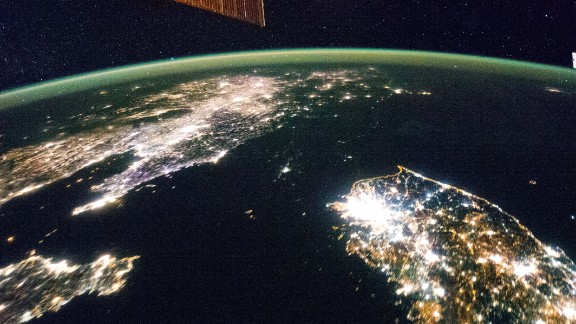 North Korea is barely lit when juxtaposed with neighboring South Korea and China.