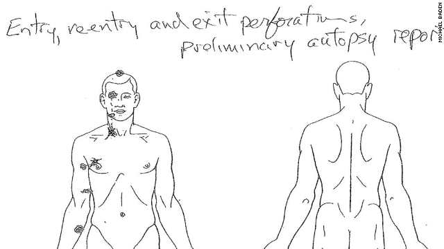 A diagram from the autopsy shows entry and exit wounds.