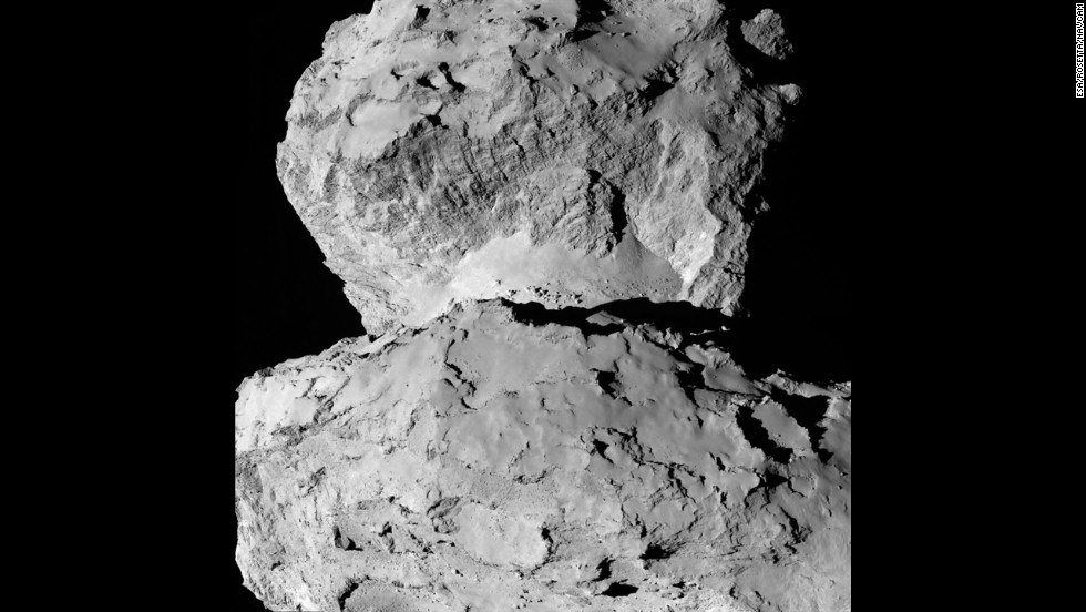 This image, captured August 7, 2014, shows the diversity of surface structures on the comet's nucleus.