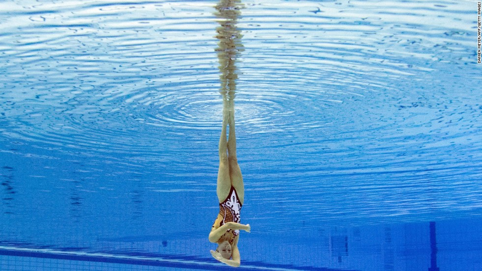 Ukraine's Anna Voloshyna is seen underwater as she competes in the solo synchronized swimming competition Sunday, August 17, at the European Swimming Championships in Berlin. She won the bronze medal in the event.