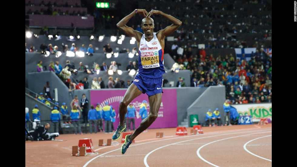 Mo Farah of Great Britain dances after winning the gold medal in the 10,000 meters Wednesday, August 13, at the European Athletics Championships in Zurich, Switzerland.