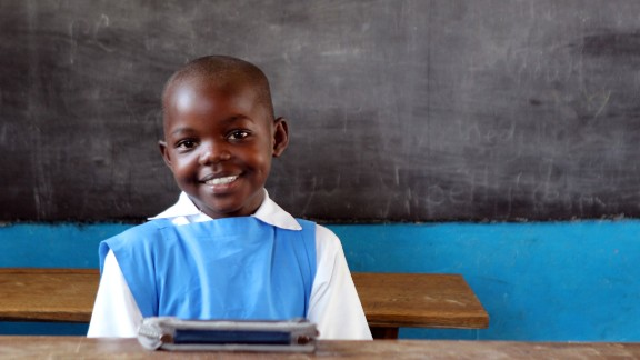 Proud e-reader owner Veronica Adhiambo, 8, wants to become a teacher.