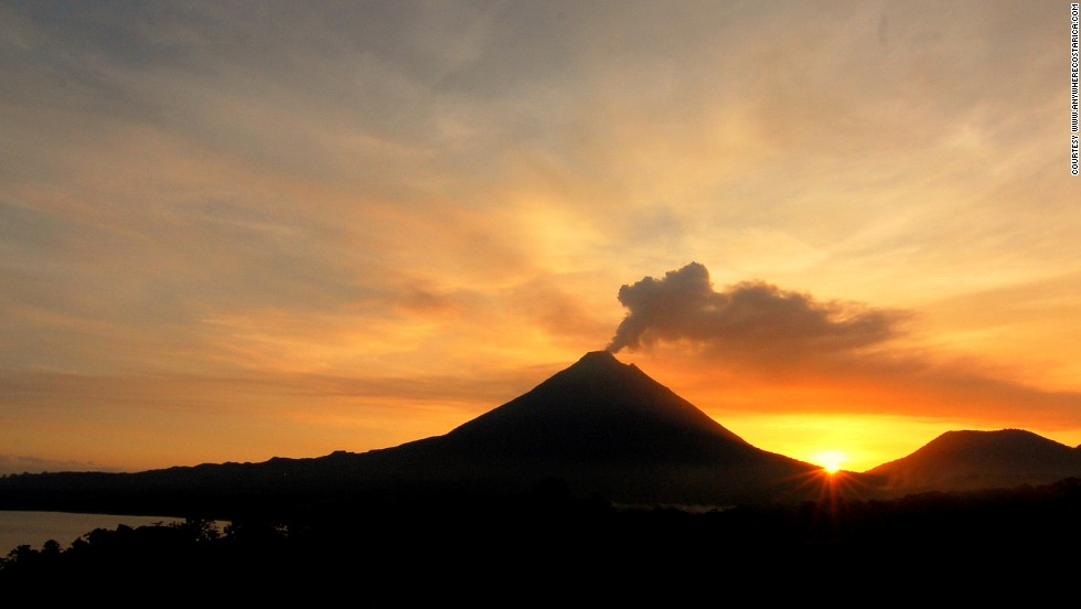 Costa Rica's Arenal volcano is known for its continuous pyroclastic and lava flows. The area is filled with wildlife like parrots, howler monkeys and deer.