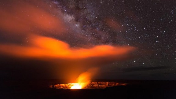 """Standing proud at 4,200 feet, Kilauea's """"lava lake reflects its fiery colors onto the plume and into the night sky, creating an amazing glow show,"""" says Eric Leifer, tour guide at KapohoKine Adventures and a National Geographic explorer."""
