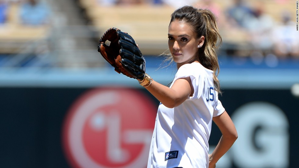 Jessica Alba throws out the ceremonial first pitch at Dodger Stadium on August 17 in Los Angeles, California.