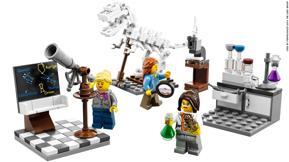 Lego released a new set of figures called the Research Institute. It features a female scientist, an astronomer and a palaeontologist.