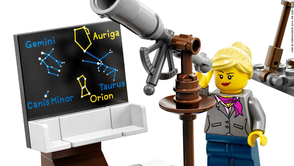Another character in the new Lego set is a female astronomer.