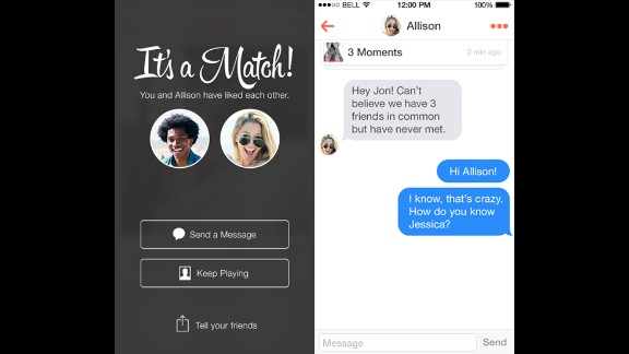 Fast-growing app Tinder lets users build profiles by importing photos and interests from their Facebook accounts. The app will then produce nearby matches -- possibly even down your street or across the bar -- fitting your search criteria. Users swipe right if they