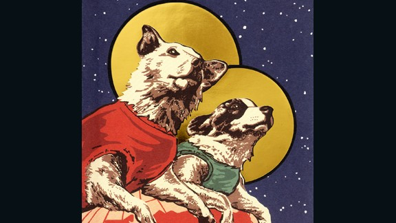 During the 1950s, USSR propaganda artists produced a huge range of emblematic images celebrating the role of dogs in Soviet space exploration.