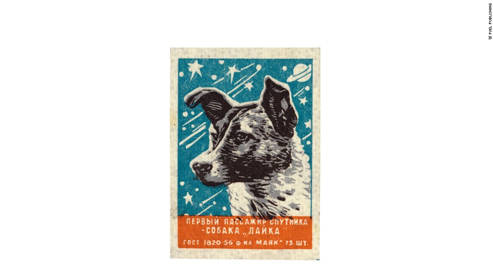 As one of many label designs celebrating the first living being in space, this Matchbox label from 1957 reads ''The First Sputnik Passenger -- the dog Laika'<br />