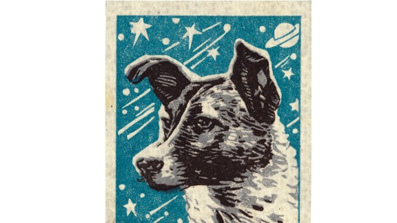 As one of many label designs celebrating the first living being in space, this Matchbox label from 1957 reads ''The First Sputnik Passenger -- the dog Laika'