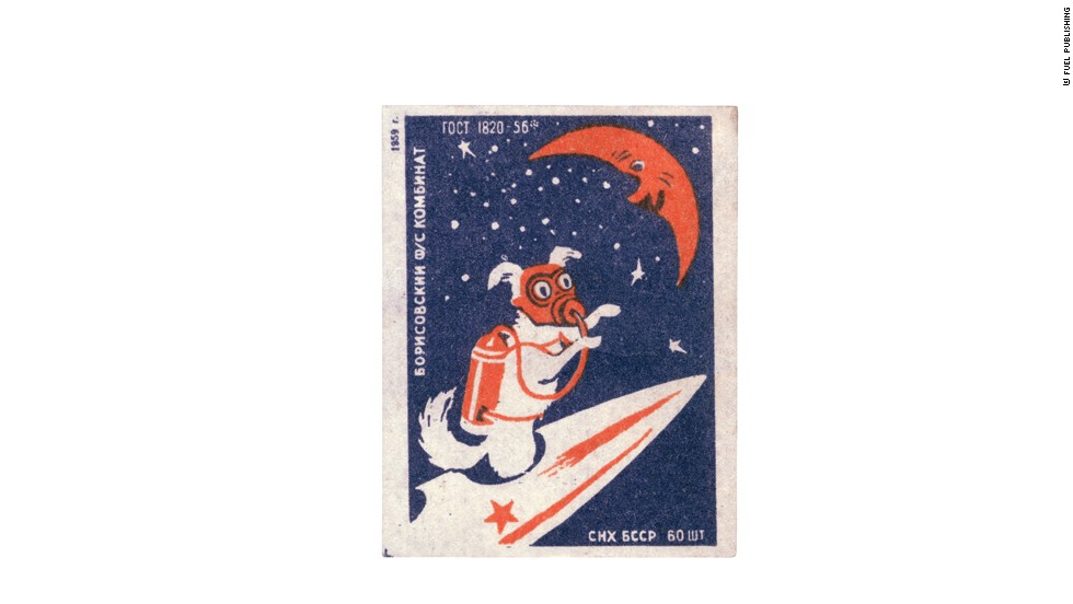 A matchbox label (1959) from the Borisovsky Works shows a space dog flying to the Moon.<br />